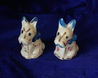 1930's Scottish Terrier Patchwork Salt & Pepper Shakers Ceramic Japan Mother's Day!