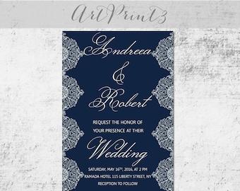 Navy&White Wedding Invitation Printable, Vintage Lace Navy Wedding Invite Set, Elegant Wedding Invitation Printable, DIY Wedding Invite