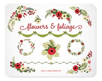 Christmas Flowers & Foliage Wreaths |Floral Arrangements | Holiday Greenery Clip Art Includes Vector EPS file