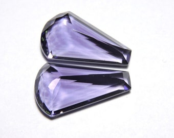 2 Pieces Beautiful Purple Amethyst Quartz Faceted Fancy Shaped Loose Gemstone Size 25X15 MM