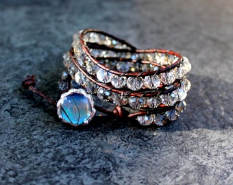 Smoky Crystal Brown Leather Triple Wrap Bracelet with Real Blue Butterfly Button