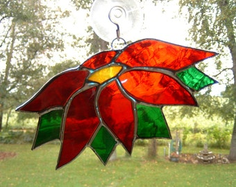 Stained Glass Poinsettia Flower Sun Catcher Window Hanging