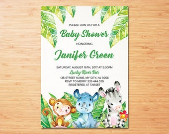 Safari Baby Shower Invitation, Jungle Baby Shower invitation, Safari Party, Jungle Party, Invitation, Jungle Animals-Digital