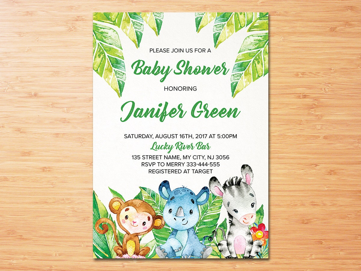 Safari Baby Shower Invitation Jungle Baby Shower invitation