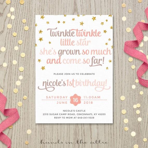 Twinkle twinkle little star starry birthday poem invitation stopboris Image collections