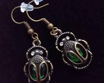 Bronze Jeweled Egyptian Beetle Earrings