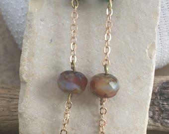 Handcrafted dainty czech beaded earrings
