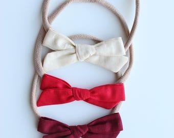 Tied bow baby headband, tied bow headband