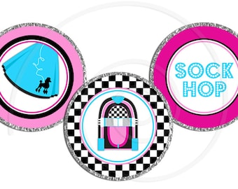 Printable Chocolate Kiss Candy Labels - 50's Sock Hop
