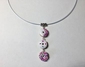 Trio donuts polymer clay necklace