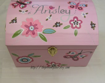 extra large  box,girly keepsake box,butterflies,flowers,large pink storage box,kids boxes,children's memory box,doll storage trunk,girls box