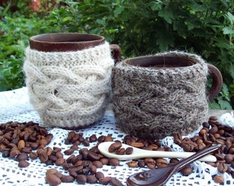 Knit Cup Cozy, Coffee / Tea Cup Cozy, Coffee Mug Cozy, Cable Knitted Coffee warmer, Knit Cup Coffee Cozy, Knit Mug Cozy.