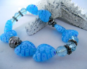 Heart  Charm Bracelet- Blue & Silver- Millefiori - Facetted Glass Beads - Silver Metal Spacer Beads - Elastic - Gift Idea -  Summer Bracelet