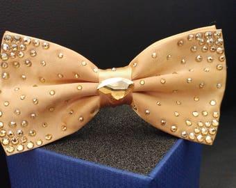 Luxury Bow Tie with Swarovski Crystals - Gold