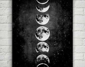 Moon Poster,Full Moon,Moon Art With Moon Phases,Astronomy Art.NO,427