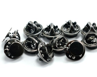 40 Pcs. Gunmetal 1 Loop 8 mm Round Tie Tacks Findings