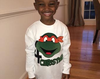 Mutant Ninja Turtle Birthday Shirt custom, Raphael