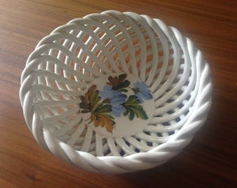 Italian Bowl with woven sides and handpainted flowers