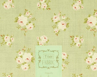 Fabric coupon 50/55 cm, grey green, flowers, TILDA, patchwork, clothing