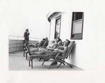 Original Vintage Photograph Snapshot Women Relax on Ships Deck 1940s