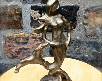 Mermaid Sculpture Mermaid Statue Fairy Goddess Healing Power Altar Witch Surf Ocean Wave Nautical Sailor Art Wedding Bronze Goddess Gift M02