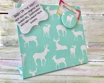 "Deer Nursery, Deer Silhouette,  Magnetic Board,  Fabric Message Memory Board, Freestanding Magnet Board  (9"" x 8"")"