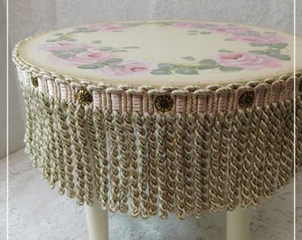 Decorative Foot Stool, Hand Painted Design of Cottage Roses, Trims, Brass Studs, Removable Legs, Home Decor, Cottage Accent. ECS