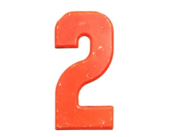 """7 1/2"""" Vintage Metal Number 2 Red/Orange - Marquee Signage Sign - Sports Wedding Birthday Numbers  Kid's Party Decor House Address Outdoor"""