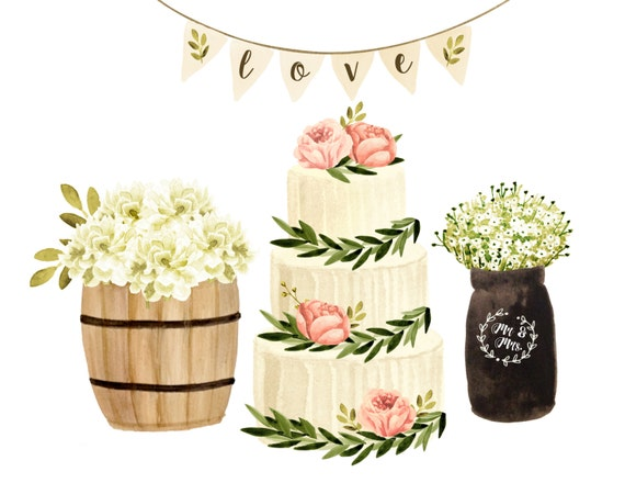 Cake Clipart Wedding Watercolor Rustic Invites Decor From Rosabebe On Etsy Studio