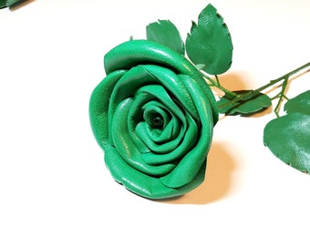 Green leather rose,birthday gift, Purple leather rose, leather  Flower, Wedding gift, 3rd Anniversary Gift, Long Stem rose,  Valentines Day