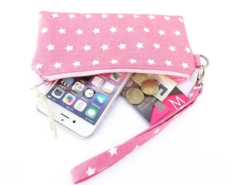 Pink Zipper pouch Wristlet Zipper wallet,  Wallet for girls, iPhone 6 Pouch wristlet, Fabric phone Sleeve wristlet Stars, Pink Purse