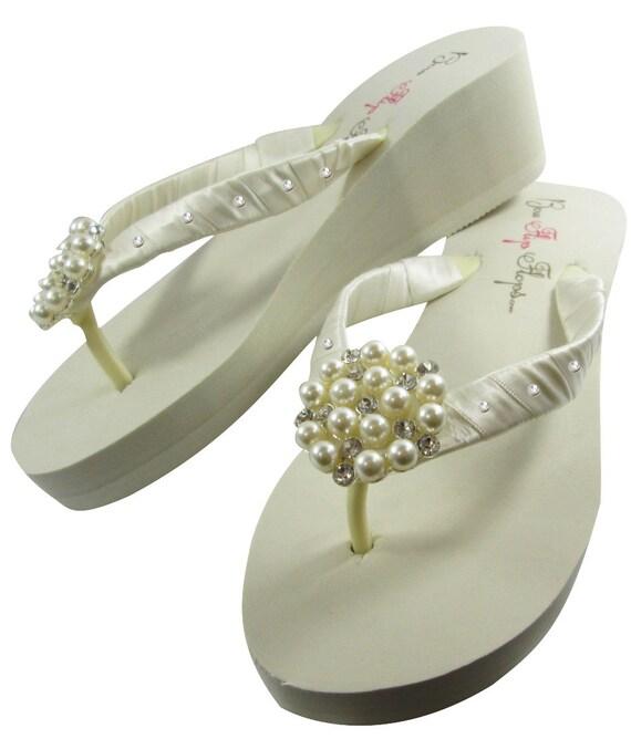 flip Pearl Wedding Ivory or Platform Flip wedge Bling Flops bride ...