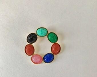 Vintage Scarab Circle Brooch, carved scarab, multicolored stones, multicolored scarab brooch, scarab pin, Egyptian revival brooch pin