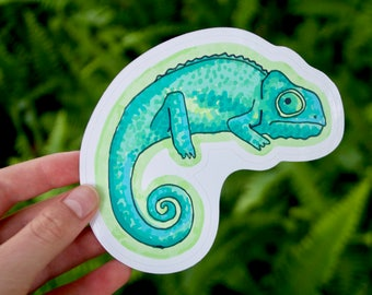 "Skeptical Chameleon Bumper Sticker – 4.5""x4"" 