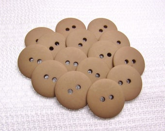 "Matte Sand: 3/4"" (19mm) Tan Buttons - Set of 16 New / Unused Matching Buttons"