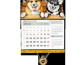 Calendar gift Wall calendar 2018 Welsh Corgi Dog calendar Personalize calendar Handmade calendar Handpainted calendar а3к16
