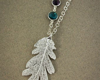 Silver Dipped Genuine Oak Leaf Necklace - Choose Your Necklace - Layering Necklace