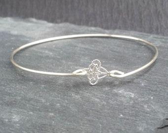 Tiny Fleur de Lis Filigree Jewelry   French Bracelet   Silver Fleur-De-Lis Bracelet   Paris Jewelry Paris Bracelet, Silver Bangle Bracelet