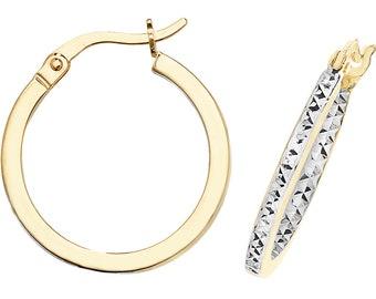 9ct 2 Colour Gold Diamond Cut Inside-Outside Flat Hoop Earrings 15mm 20mm 25mm 30mm