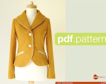 Patron PDF. Veste col châle en femmes - Luffa - (taille 34-48)