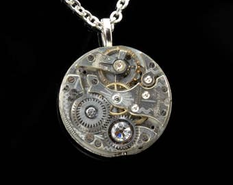 APRIL Steampunk Necklace Steam Punk Jewelry Antique Pocket Watch Necklace Silver Necklace Industrial Steampunk Jewelry Victorian Curiosities