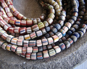 striped glass seed beads, 4 tones  multicolored  , matte  ethnic tube barrel, New Indo-pacific 3 to 6mm (21 inches strd) 7AB21-2
