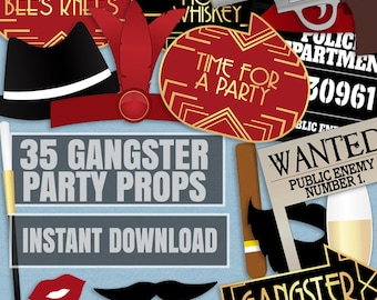 35 Gangsters Printable Photo Booth Props, 1920s Gangsters and flappers Photobooth props, gangster gatsby photo props, printable party