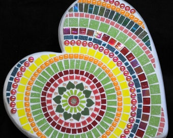 Tropical Mandala Large Mosaic Heart Shaped Stepping Stone Garden Paver