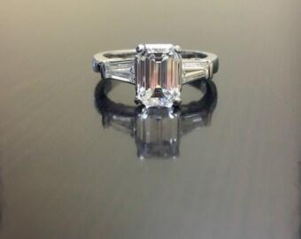 Platinum Emerald Cut Diamond Engagement Ring - Art Deco Platinum Diamond Wedding Ring - Emerald Cut Three Stone Diamond Ring - Platinum Ring
