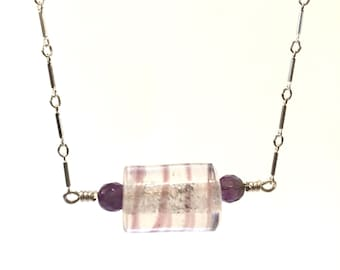 15 Inch Amethyest And Vintage Glass Bead Sterling Silver Necklace - Reiki Infused