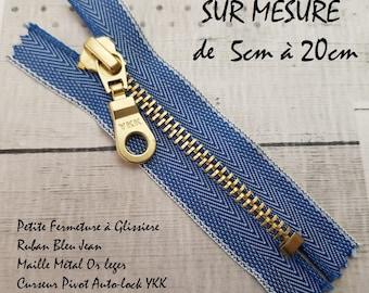 Small zipper at the back Ribbon Jean mesh golden light slider Pivot 5cm 6cm 7cm 8cm 9cm 10cm 11cm 12cm and 13cm 14cm 15cm 16cm 17cm 18cm 19cm 20cm