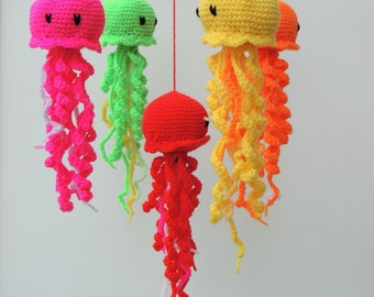Jellyfish Mobile Baby Mobile Crochet Nursery Mobile