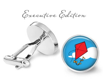 Kite Cufflinks - Red Kite Cuff Links - Flying Kite Cuff Links (Pair) Lifetime Guarantee (S0403)