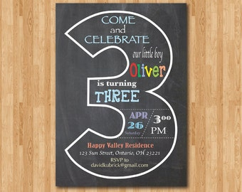 Chalkboard 3rd Birthday Invitation. Third Birthday Invite. Baby Boy or Girl Birthday Party. Turning Three. Printable Digital DIY